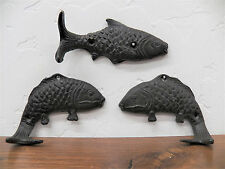Set of 3 Cast Iron Rustic Brown Fish Shaped Hooks Angler Trout Fishing Fisherman
