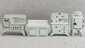 Vintage 1930s Dollhouse Miniature Porcelain Kitchen Set Stove Fridge Sink Pantry