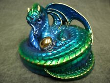 Windstone Editions * Emerald Peacock Mother Coiled Dragon * Figure Magic Statue