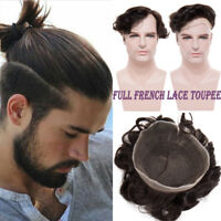 French Lace Mens Toupee Skin Indian 100% Remy Human Hair Natural Hairpieces Wigs