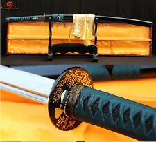 New Japanese Samurai Sword Katana Damascus Sharp Blade Folded Steel Cut Bamboo