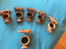 New listing 6 Hand Carved Wooden Napkin Ring Holders African Safari Animals Boars Rhino