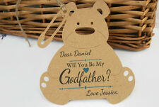 Will you be my Godfather Teddy Bear Card Tag