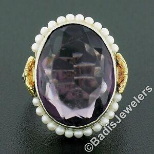 Antique 10K TT Gold Oval Bezel Purple Stone Seed Pearl Halo & Open Filigree Ring