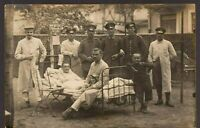 WW1 HOSPITAL SCENE SOLDIERS GERMAN ARMY ANTIQUE PHOTO RPPC POSTCARD