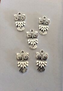 Antique Silver, Charms, Cute Owls, 20x11mm, 5pcs, Jewellery Making and Crafts