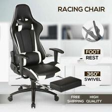 Fauteuil de Bureau Jeu Gaming Pivotant Massant Chaise Repose-pieds Blanc Noir