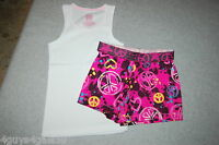 Girls Outfit WHITE TANK TOP Ribbed WILD PINK SHORTS Peace Signs S 6-6X