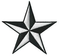 Ecusson patche étoile Noir Blanc star patch brodé thermocollant