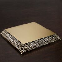 """15"""" Bejeweled Gold Flat Crystal Beaded Wedding Birthday Party Cake Stand"""