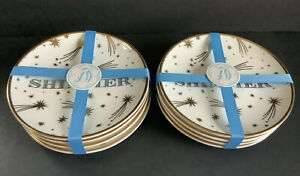 """DRAPER JAMES Crate & Barrel Shooting Star 6"""" APPETIZER PLATES New w/Tag-Set of 8"""