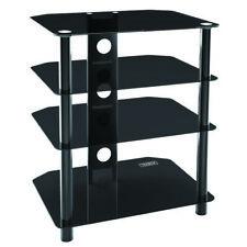 4 Tier TV Unit Black Glass Television Stand Base Hi-Fi Cabinet Four Shelves tb1