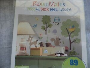 Room Mates Peel and Stick Wall Decals Woodland Creatures Trees Child's Room NIP