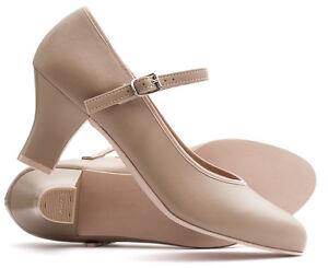 "Ladies Tan Nude Character Stage Showtime Dance Shoes Katz Dancewear 2.5"" Heel"