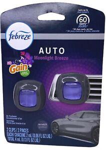Febreze Car Vent Clip W Gain Moonlight Breeze Scent Air Freshener 2 Clips Damage