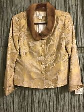 DONCASTER SILK BROCADE JACKET with MINK COLLAR SIZE 10
