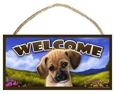 Puggle (portrait) Spring Season Welcome Dog Sign featuring art of S Rogers