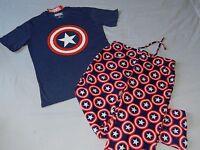 NEW Captain America 2pc T-Shirt Sleep Pants Set Marvel Comics Lounge MEN'S Small