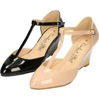 Comfort Plus Wide Fit Wedge Heel T-Bar Patent Shoes Ankle Strap Court Two Part