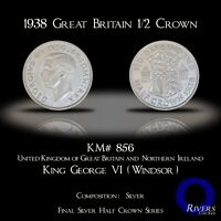 1938 Great Britain 1/2 Crown (Silver) - Mint Luster (XF+/aUNC)