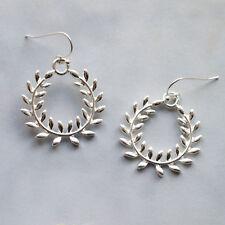 Laurel Wreath Earrings - Large Leaf Floral Ear Hooks - Minimalist Drop Dangle