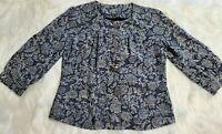 J. Jill Size XS Women's Cropped 3/4 Sleeve Short Blue Paisley Lined Jacket C-2