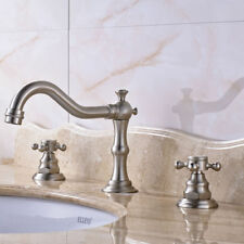 Bathroom Basin Faucet Luxury Brushed Nickel Sink Vanity Mixer Tap Two Handles