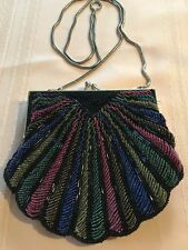 Evening Shoulder Bag Clutch Andre Cellini Vanity Purse Beaded Fabric Estate *