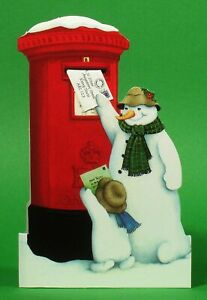 36 Pillar Box Xmas Cards with Detachable Miniature Envelope Being Posted (EW)