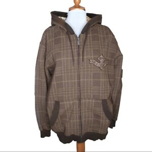 Ezekiel Men's Brown Plaid Zip Hoodie Size Large