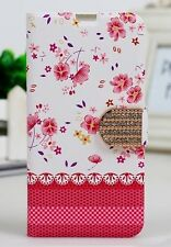 Etui portefeuille housse  Samsung Galaxy S5 grandes fleurs roses  NEUF !