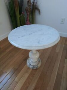 Vintage Marble Top and Base Plant Stand / Side Table Pedestal Italy Paul's Gifts