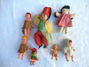 Lot of celluloid little dolls toys from 1940/50s  Made Italy,Germany,very RARE!!