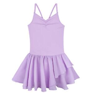 Girls Sleeveless Ballet Dance Dress Gym Leotard Skating Kids Pertomance Costumes