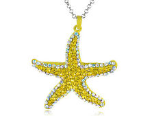 Neon Bright Mustard Yellow Starfish Crystal Rhinestone Pendant Necklace USA