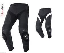 Alpinestars Missile Leather Motorcycle Pants Black & WHITE Short and Regular