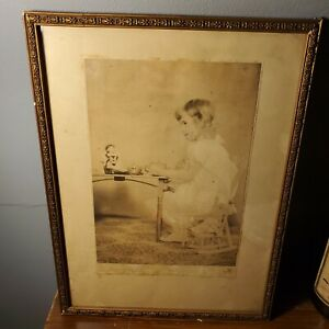 """Antique Photo of Child Sitting at Table in Gold Wooden Ornate Frame 14"""" x 10"""""""