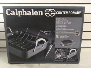 CALPHALON CONTEMPORARY NONSTICK 16'' ROASTER & RACK (Shelf 36)(J)