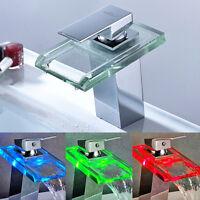 LED Verchromt Waschtischarmatur mit Temperatursensor Wasserhahn für Bad DHL