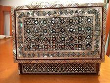 Rectangular hand made jewellery box inlaid with mother of pearl size no.14