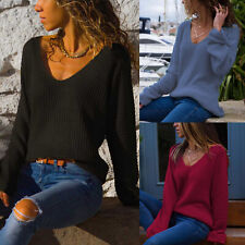 Womens V Neck Long Sleeve Jumper Shirt Loose Casual Blouse Pullover Tops Sweater