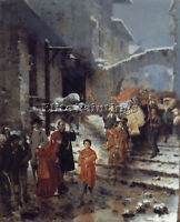 A RELIGIOUS PROCESSION IN WINTER ARTIST PAINTING OIL CANVAS REPRO WALL ART DECO