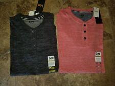 Nwt Mens Lee T-Shirt Henley Short Sleeved Shirt Black Lava Red M XL 2XL