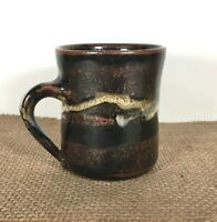 JenSen Brown Drip Glazed Pottery Mug Signed Handcrafted Coffee Cup 12 oz