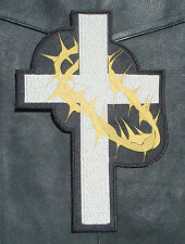 Cross and Thorns - Christian Embroidered Biker Patch