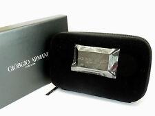 GIORGIO ARMANI Black VELVET Hard Pouch Clutch Evening Bag with Box *RARE*