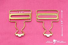 2 pc Gold Dungaree Fastener Overall Clip Suspender Buckle Strap Adjuster