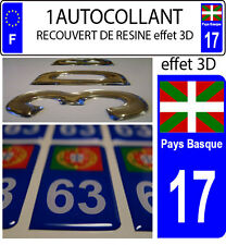 1 sticker targa auto EFFETTO DOMING 3D RESINA BANDIERA NAZIONE BASCO 17