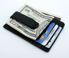 Men's Genuine Cowhide Leather Strong MONEY CLIP Wallet ID Badge Thin Flat Black