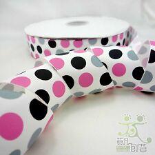"1.5""38mm White Pink/Black/Grey Dot Grosgrain Ribbon Craft Bow 2 Yard"